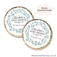 Baby Shower Mint Chocolates Personalised Eucalyptus Wreath x10