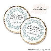 Baby Shower Mint Chocolates Personalised Eucalyptus Wreath x10