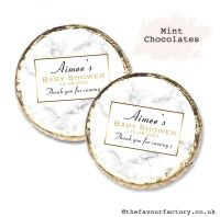 Baby Shower Mint Chocolates Personalised Marble Print x10