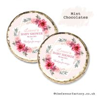 Baby Shower Mint Chocolates Personalised Pink Floral Star x10