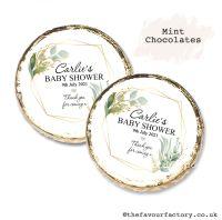Baby Shower Mint Chocolates Personalised Geometric Botanical Gold Frame x10