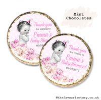 Baby Shower Mint Chocolates Personalised Vintage Baby Girl x10