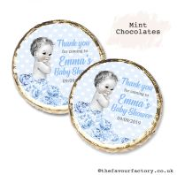 Baby Shower Mint Chocolates Personalised Vintage Baby Boy x10