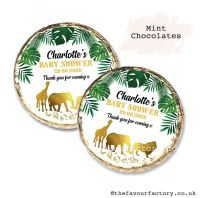 Baby Shower Mint Chocolates Personalised Gold Safari Animals x10