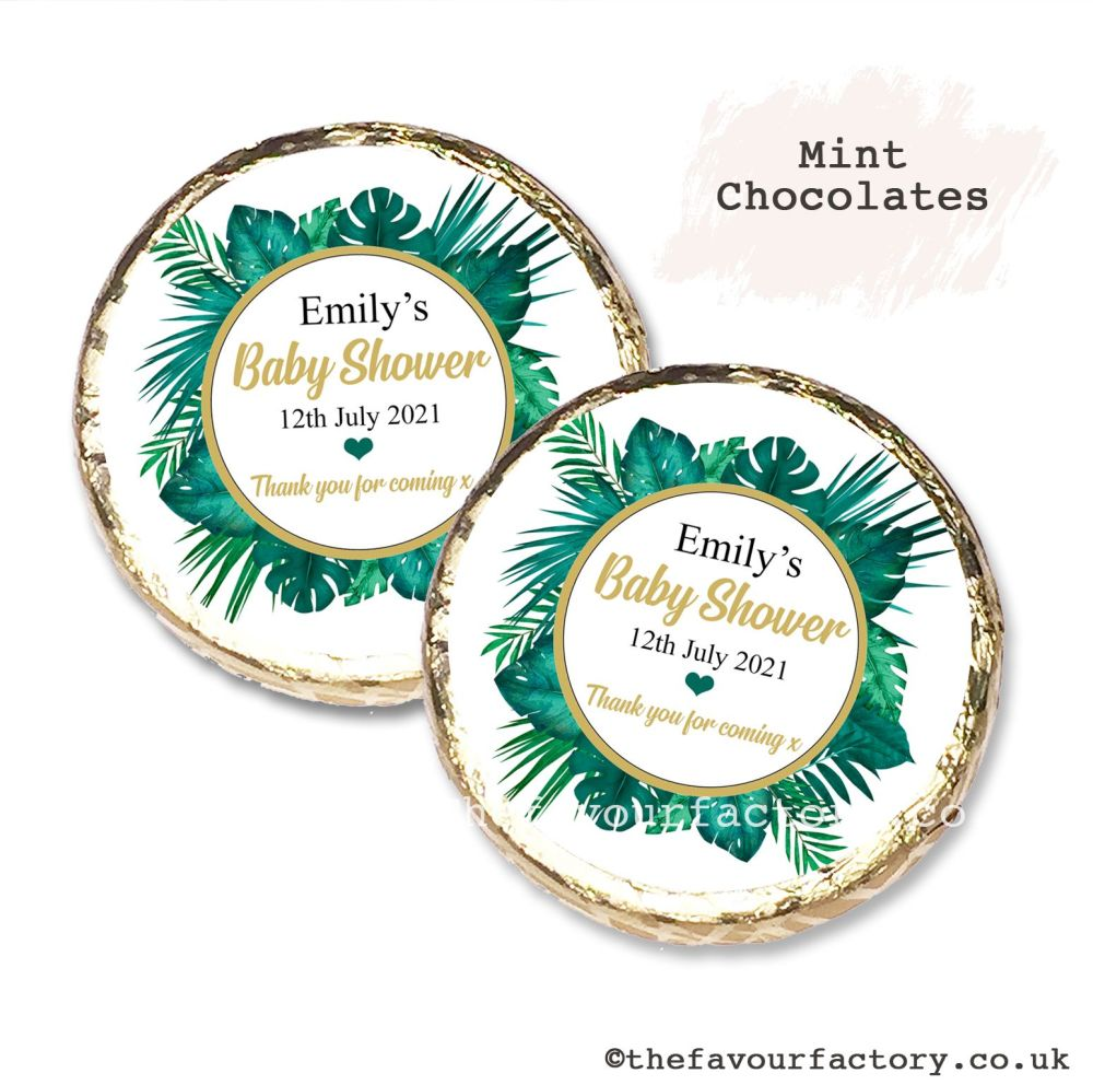 Baby Shower Mint Chocolates Personalised Tropical Palm Leaves x10