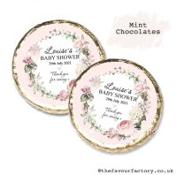 Baby Shower Mint Chocolates Personalised Vintage Floral Wreath x10