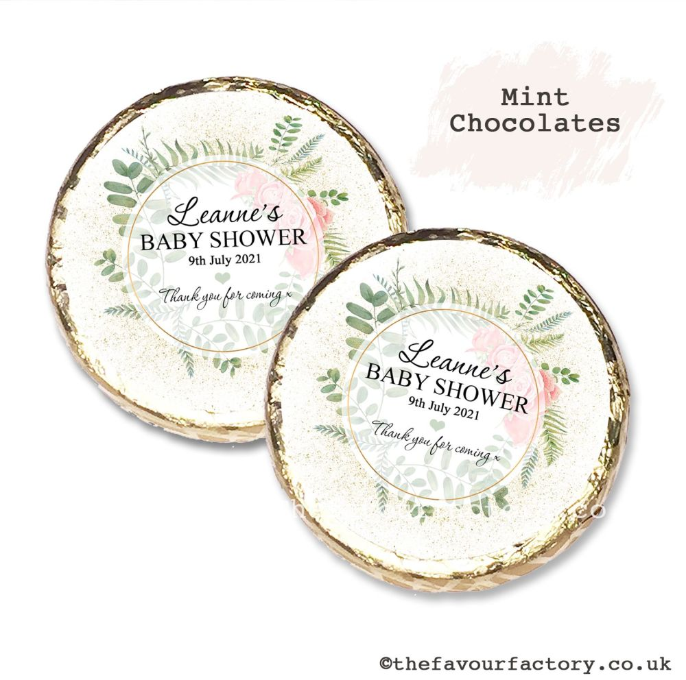 Baby Shower Mint Chocolates Personalised Gold Dust Roses x10