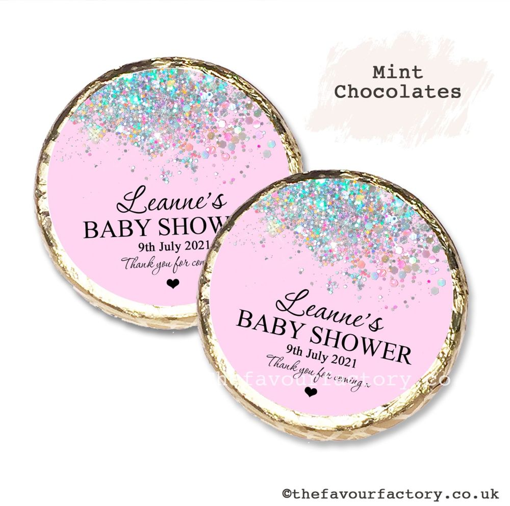 Baby Shower Mint Chocolates Personalised Pink Glitter Confetti x10