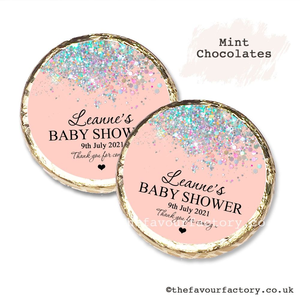 Baby Shower Mint Chocolates Personalised Rose Gold Sparkles Glitter Confett