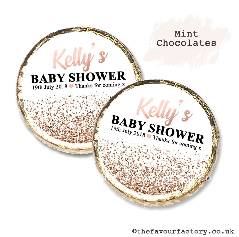 Baby Shower Mint Chocolates Personalised Rose Gold Glitter Confetti x10