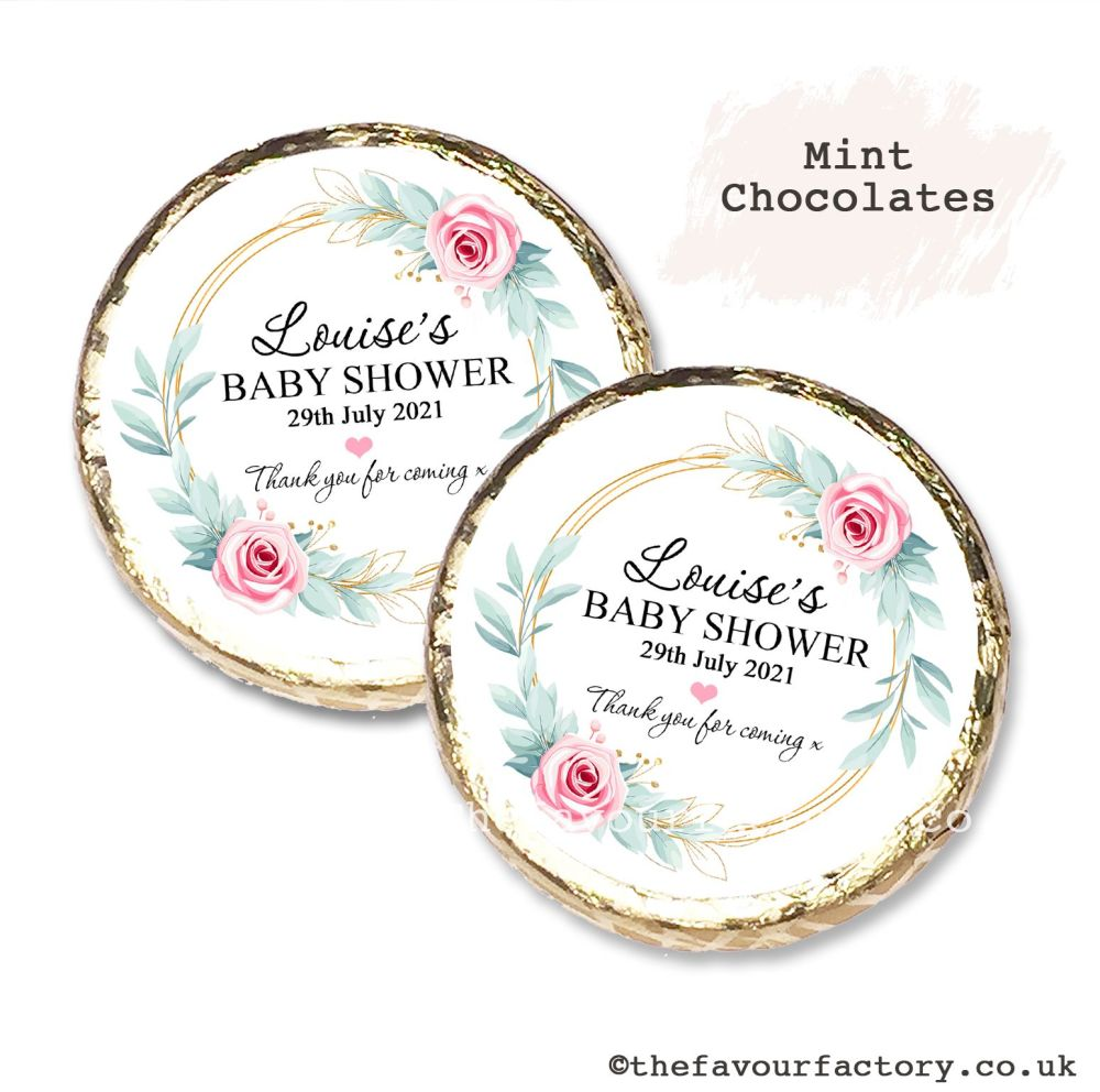 Baby Shower Mint Chocolates Personalised Pink Roses Gold Frame x10