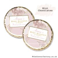 Baby Shower Mint Chocolates Personalised Rose Gold Geometric x10