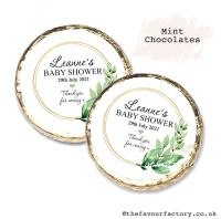 Baby Shower Mint Chocolates Personalised Botanical Gold Frame x10