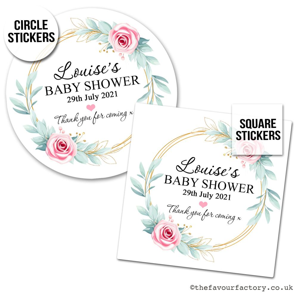 Baby Shower Stickers Pink Roses Gold Frame x1 A4 Sheet.
