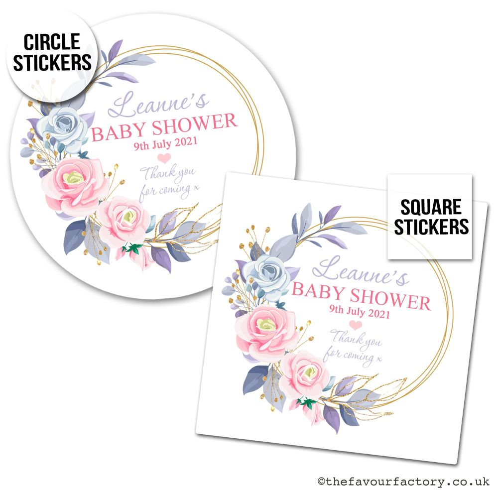 Baby Shower Stickers Pink Floral Gold Frame x1 A4 Sheet.