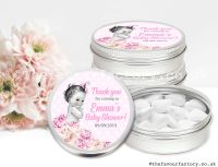 Baby Shower Favour Tins Vintage Baby Girl x1