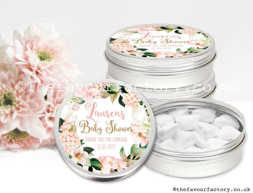 Baby Shower Favour Tins Blush Hydrangeas x1