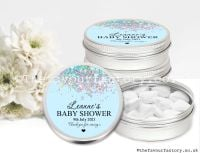 Baby Shower Favour Tins Blue Glitter Confetti x1