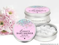 Baby Shower Favour Tins Pink Glitter Confetti x1