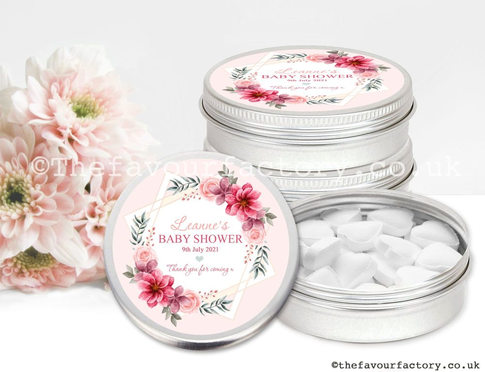 Baby Shower Favour Tins Rose Floral Star x1
