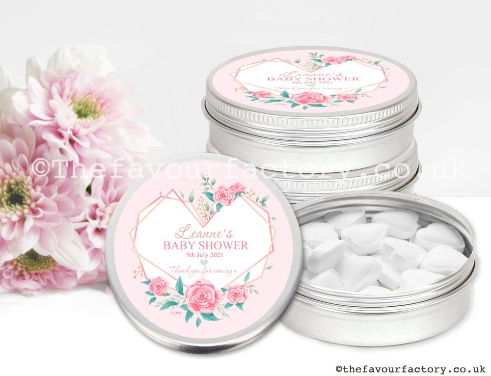 Baby Shower Favour Tins Geometric Floral Heart x1