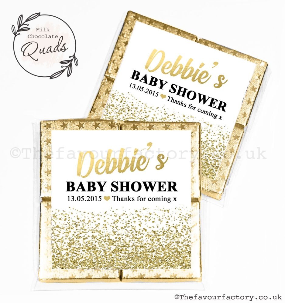 Baby Shower Chocolate Quads Favours Gold Glitter Confetti x1