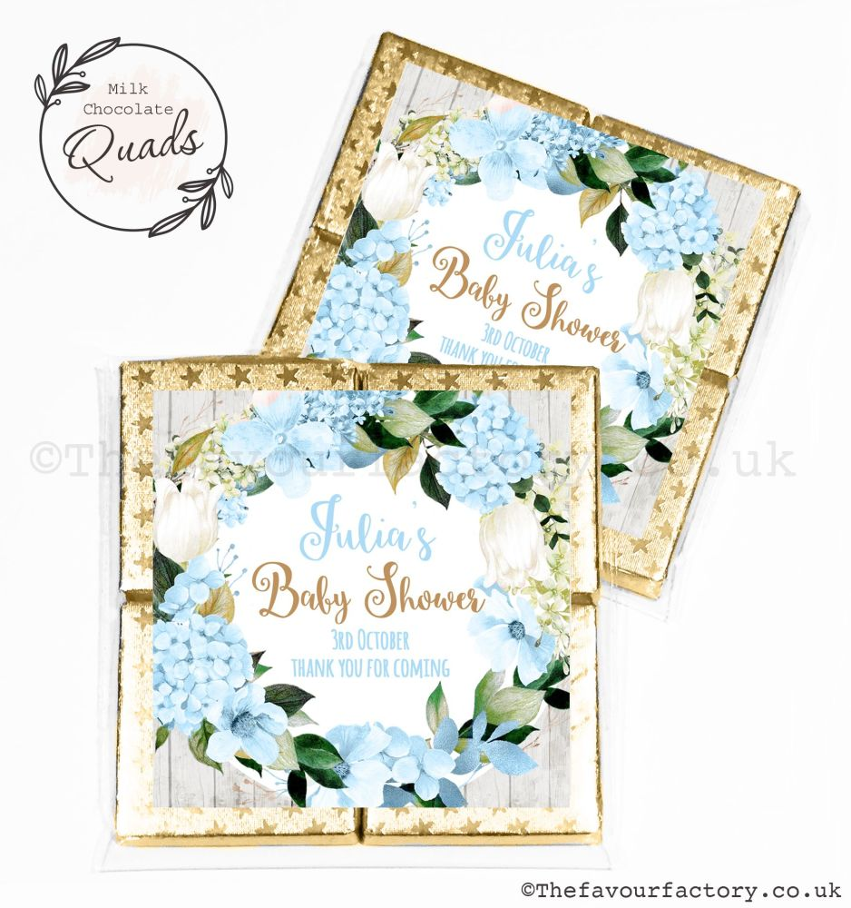 Baby Shower Chocolate Quads Favours Blue Hydrangeas x1