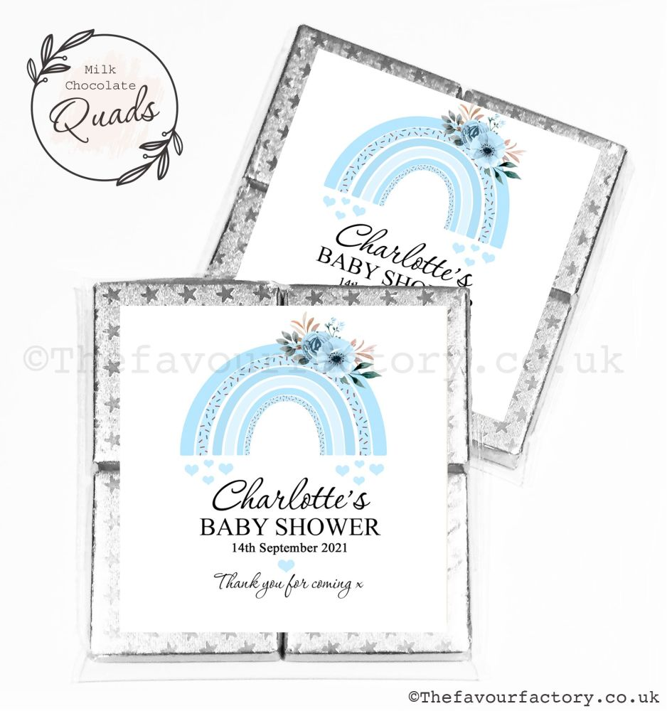 Baby Shower Chocolate Quads Favours Blue Floral Rainbow x1