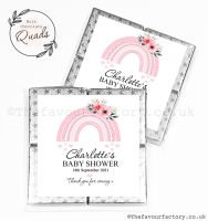 Baby Shower Chocolate Quads Favours Pink Floral Rainbow x1