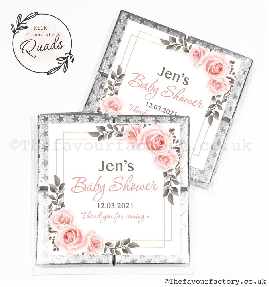 Baby Shower Chocolate Quads Favours Blush Roses Frame x1