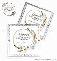 Baby Shower Chocolate Quads Favours Bohemian Wreath x1