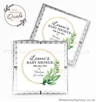 Baby Shower Chocolate Quads Favours Botanical Gold Frame x1
