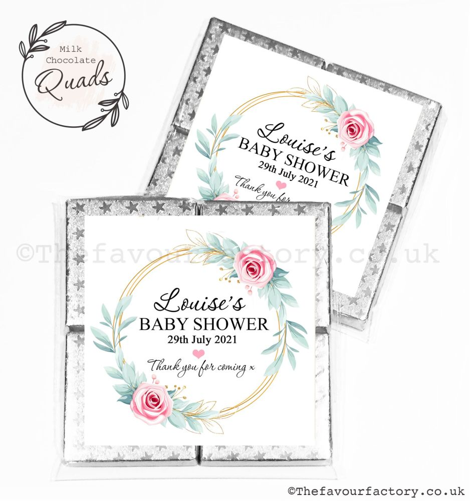 Baby Shower Chocolate Quads Favours Pink Roses Gold Frame x1