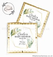Baby Shower Chocolate Quads Favours Botanical Gold Leaf x1