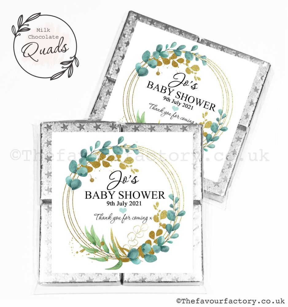 Baby Shower Chocolate Quads Favours Eucalyptus Gold Leaf x1