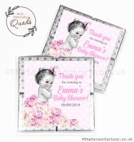 Baby Shower Chocolate Quads Favours Vintage Baby Girl x1