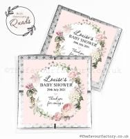 Baby Shower Chocolate Quads Favours Vintage Floral Wreath x1