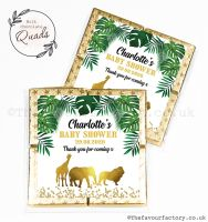 Baby Shower Chocolate Quads Favours Gold Safari Animals x1