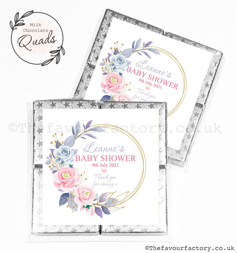 Baby Shower Chocolate Quads Favours Floral Gold Frame x1