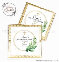 Communion Chocolate Quads Favours Botanical Gold Frame x1