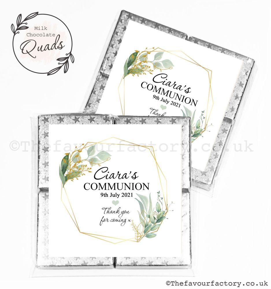 Communion Chocolate Quads Favours Geometric Botanical Frame x1