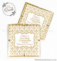 Communion Chocolate Quads Favours Pink Floral Crosses x1