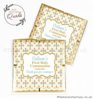 Communion Chocolate Quads Favours Blue Floral Crosses x1