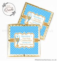 Communion Chocolate Quads Favours Blue Chalice And Beads x1