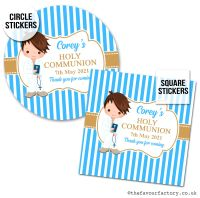 Communion Stickers Personalised Brown Hair Boy x1 A4 Sheet.