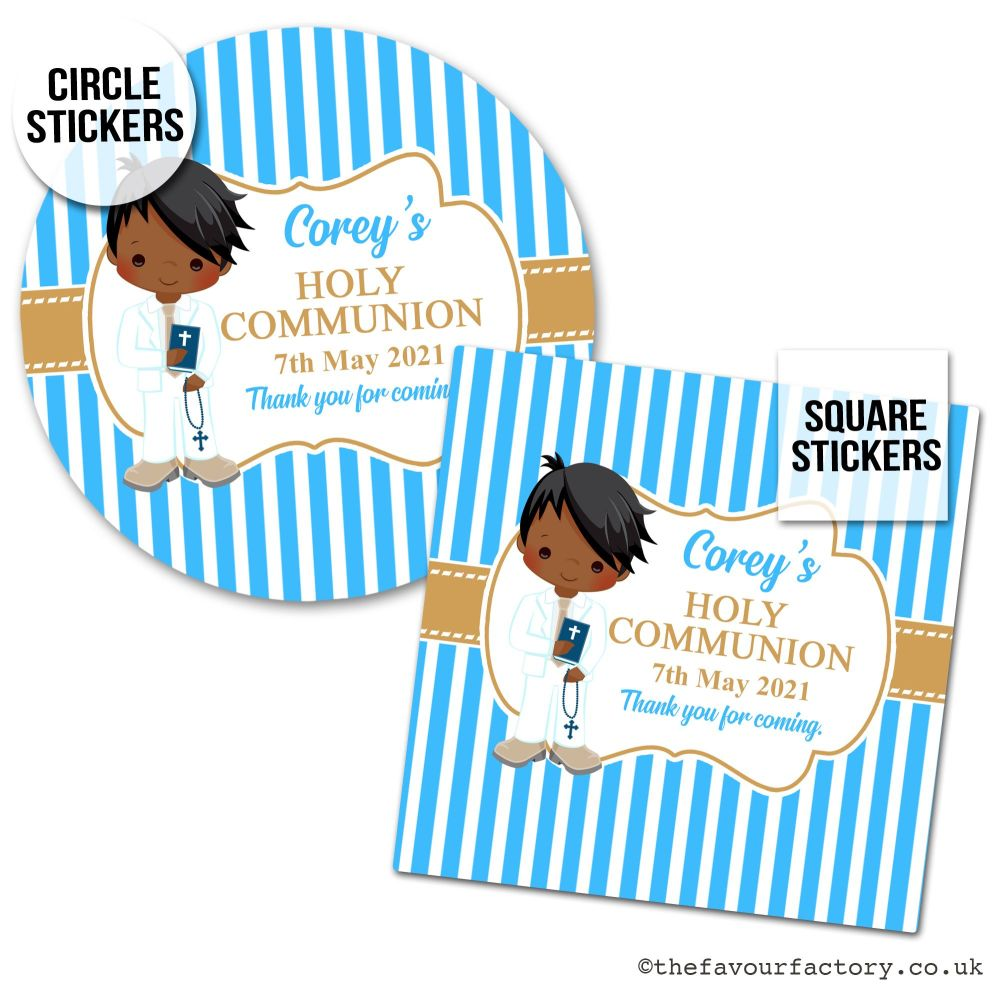 Communion Stickers Personalised Black Boy x1 A4 Sheet.