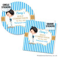 Communion Stickers Personalised Black Hair Boy x1 A4 Sheet.