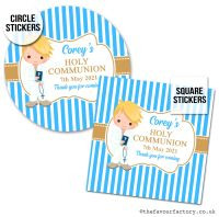 Communion Stickers Personalised Blonde Hair Boy x1 A4 Sheet.