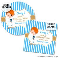 Communion Stickers Personalised Ginger Hair Boy x1 A4 Sheet.