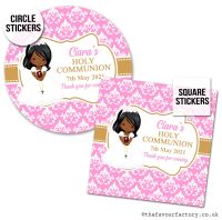 Communion Stickers Personalised Black Girl x1 A4 Sheet.